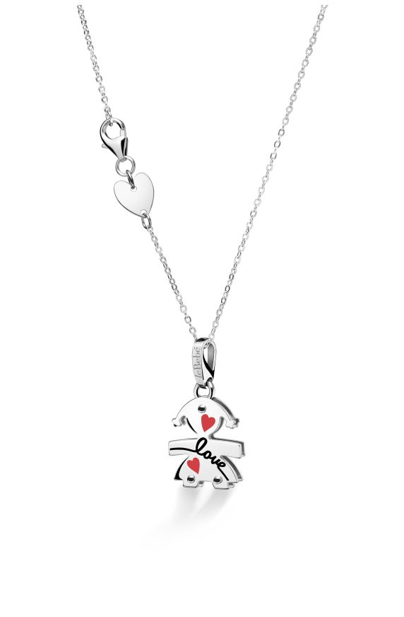 Female silhouette white gold with enamelled designs