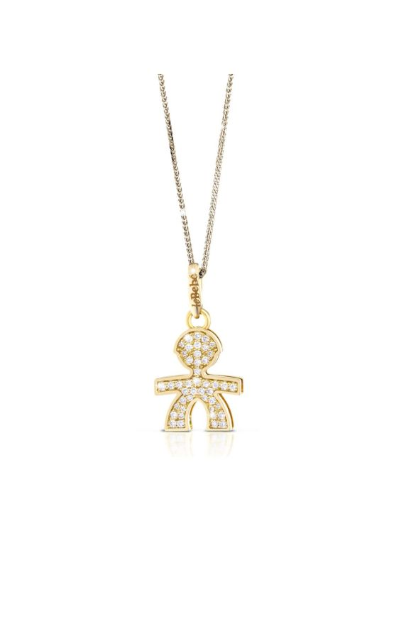 Small pavé micro setting male pendant in yellow gold
