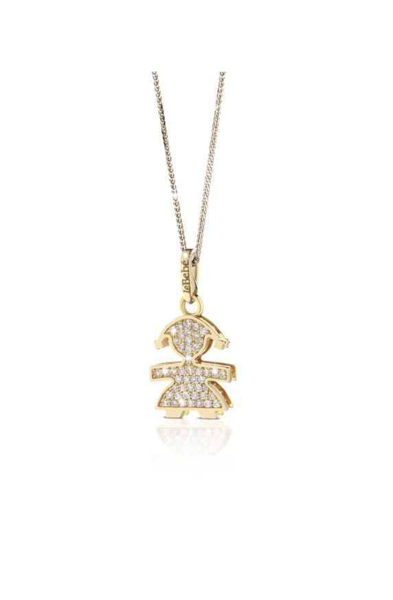 Small pavé micro setting female pendant in yellow gold