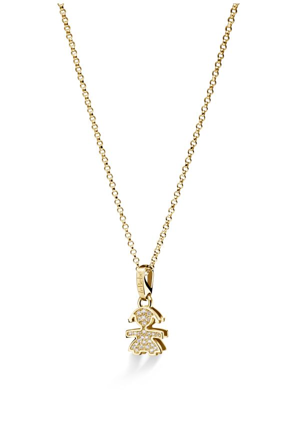 Mini pavé micro setting female pendant in yellow gold