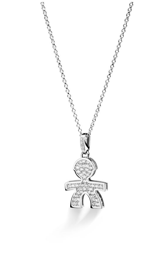Pavé micro setting male pendant in white gold