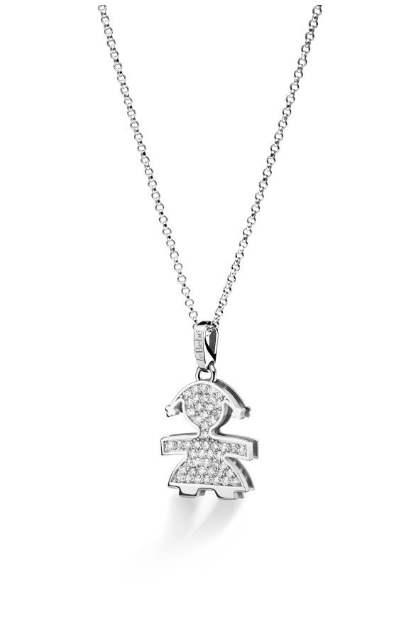 Pavé micro setting female pendant in white gold