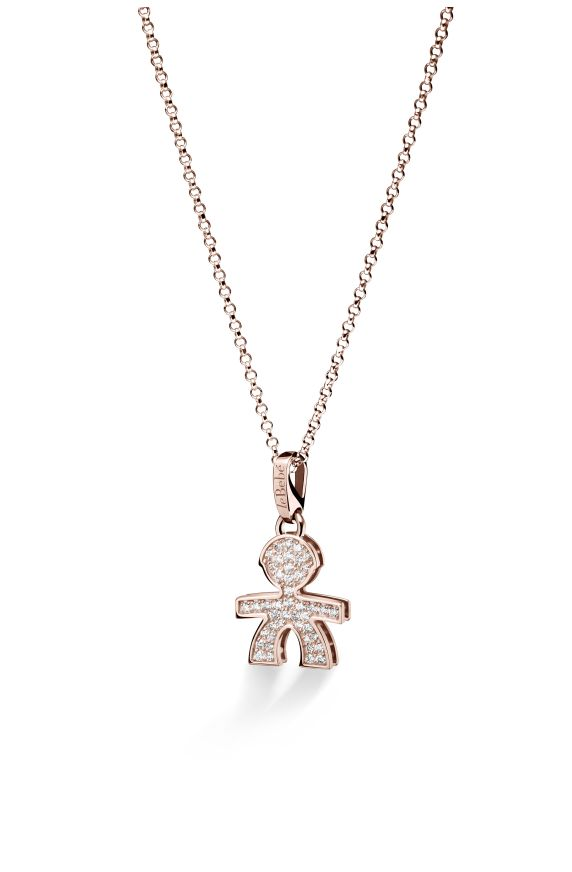 Small pavé micro setting male pendant in rose gold
