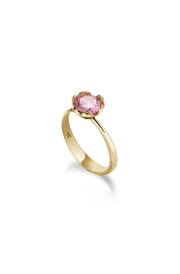 Lovely ♡ Anello Oro Giallo e Quarzo Rosa di sintesi