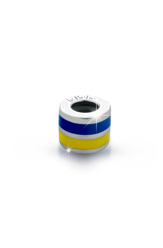 Ciondolo le Passioni, cilindro in argento con doppio smalto giallo e blu