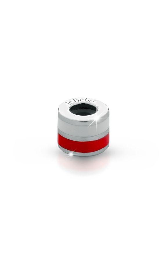 Ciondolo le Passioni, cilindro in argento con doppio smalto bianco e rosso