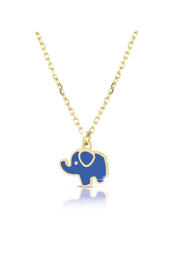 Necklace in yellow gold with elephant, coloured enamel