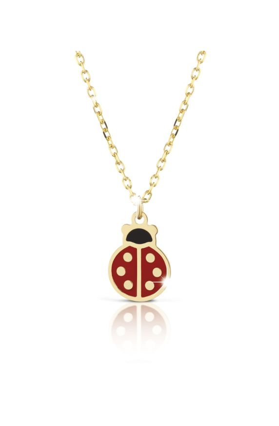 Necklace in yellow gold with ladybug, coloured enamel