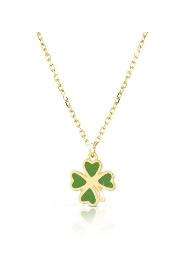 Necklace in yellow gold with four-leaf clover, coloured enamel