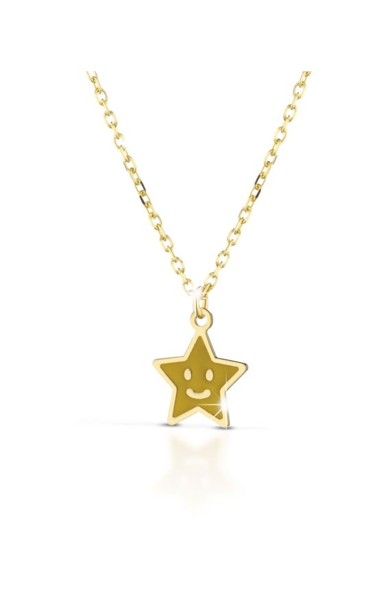 Necklace in yellow gold with star, coloured enamel