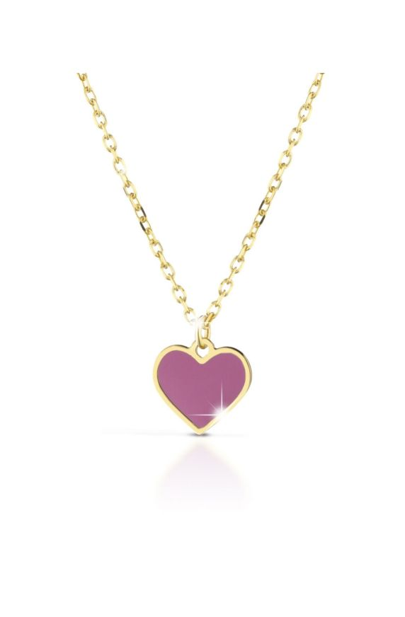 Necklace in yellow gold with heart, coloured enamel