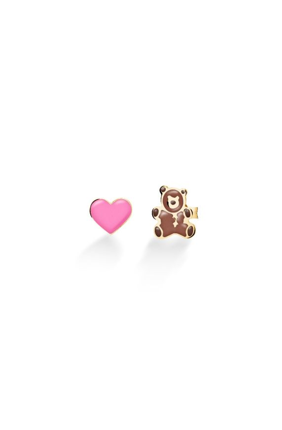 Toys ♡ Heart and Teddy Bear Earrings Yellow Gold