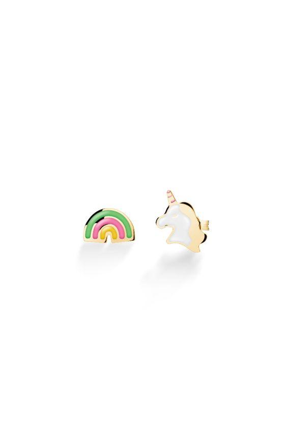 Toys ♡ Orecchini Oro Giallo Unicorno e Arcobaleno