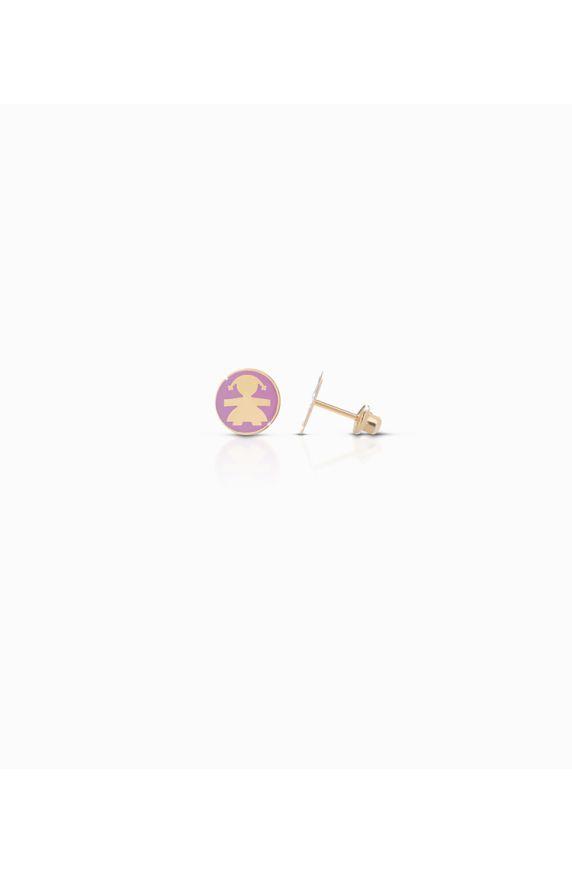 Orecchini Icon in oro giallo con bimba smaltato rosa