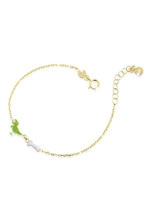 Bracelet in yellow gold with dinosaur and bone, coloured enamel
