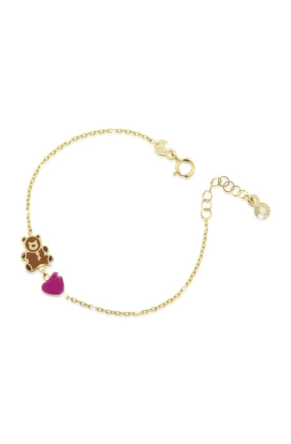 Bracelet in yellow gold with teddy bear and heart, coloured enamel