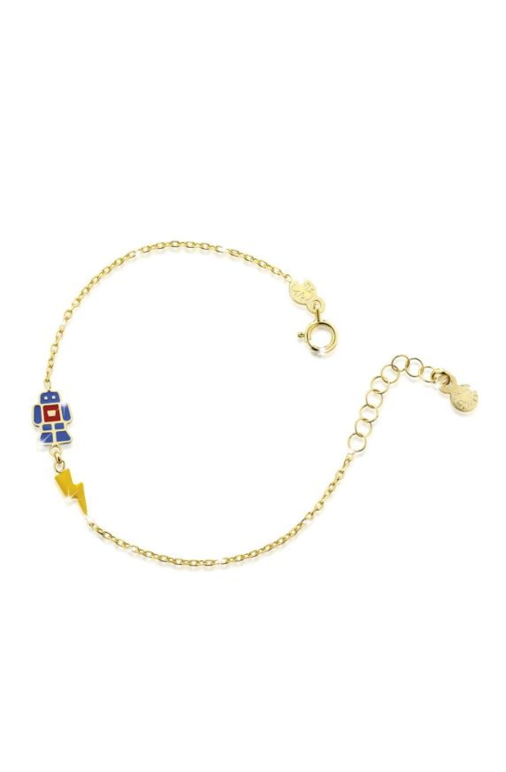 Bracelet in yellow gold with robot and lightning, coloured enamel
