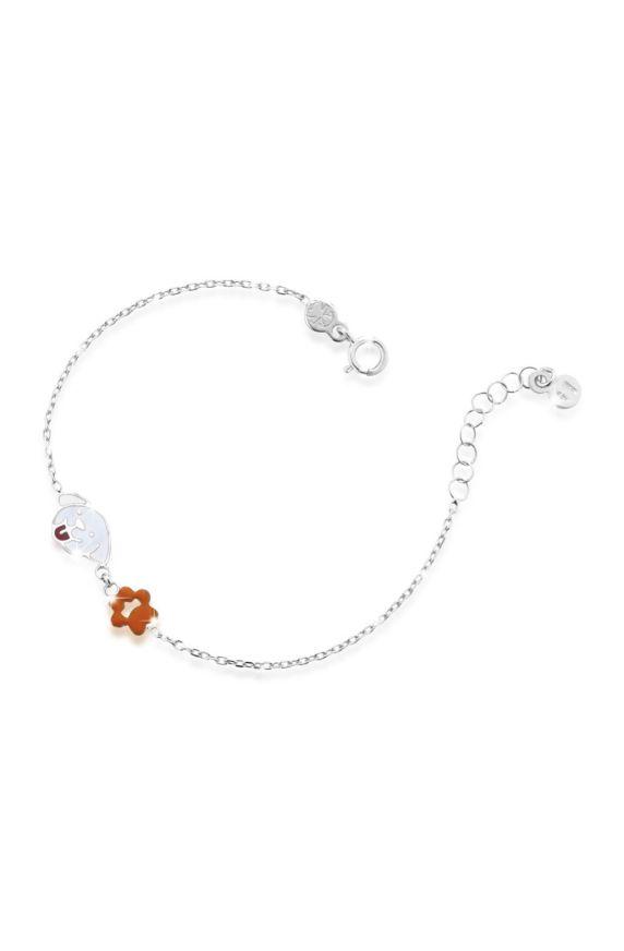 Bracelet white gold with dog and paw print, coloured enamel