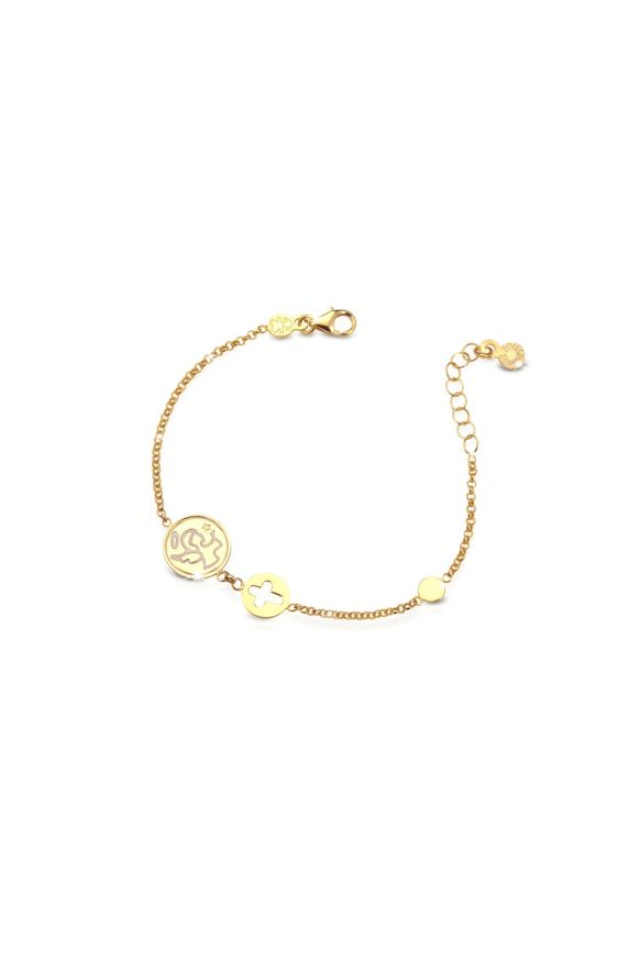 Yellow gold bracelet Protect Me with angel and cut-out cross