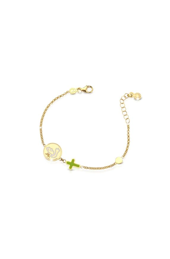 Yellow gold bracelet Protect Me with Dove and Cross