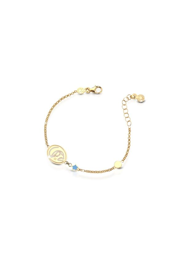 Yellow gold bracelet Protect Me with Virgin Mary and enamelled star