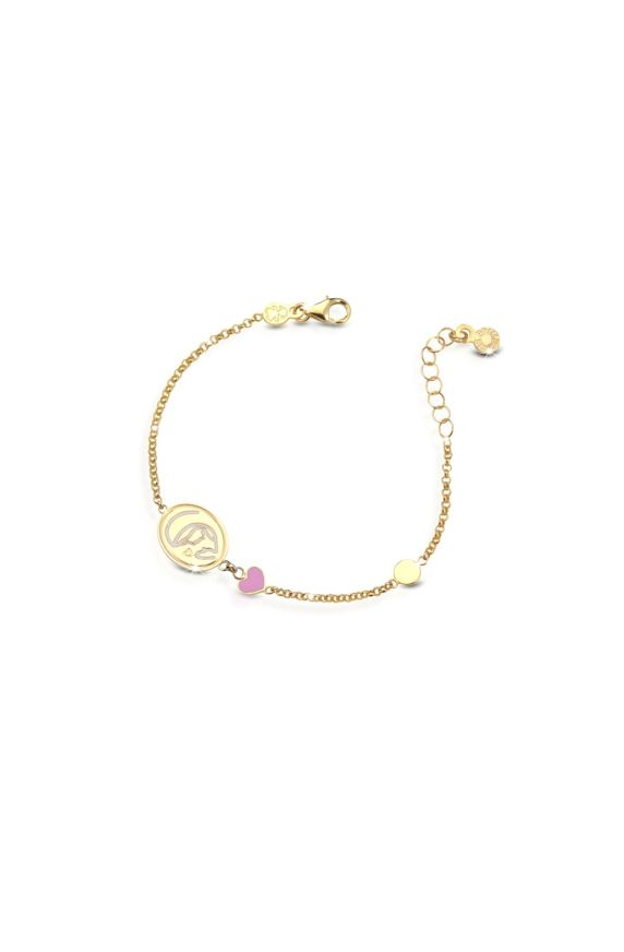 Yellow gold bracelet Protect Me with Virgin Mary and enamelled heart