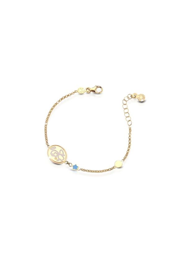 Yellow gold bracelet Protect Me with Angel and enamelled Star