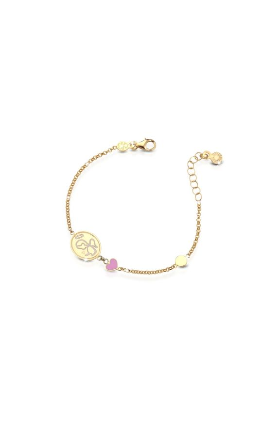 Yellow gold bracelet Protect Me with angel and heart