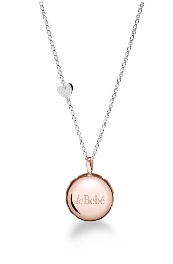 Moon silver pendant pink-gold plated