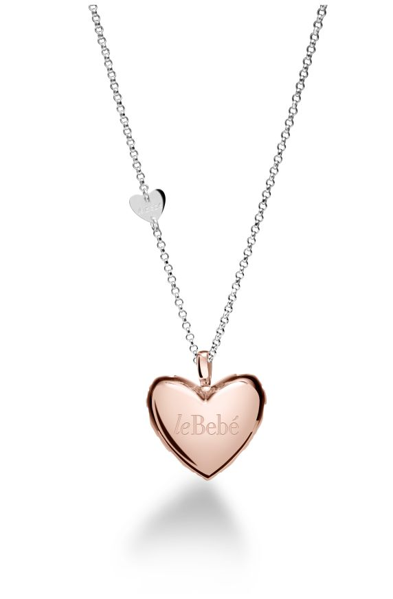 Heart silver pendant pink-gold plated