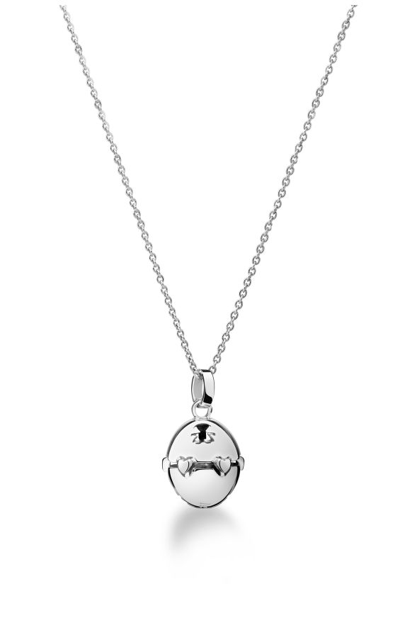 Pendant in 925 silver with perforated silhouettes and high-relief heart decoration. Silver rolò chain